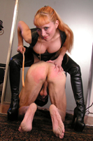 Mistress leather fem dom, caning, forced boot worship, human furniture, smothering